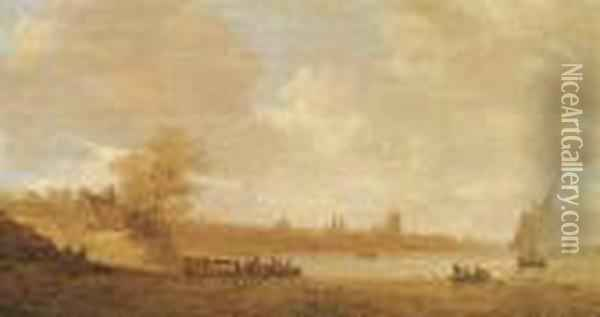 A Cattle Ferry And Other Shipping On The River Rhine Oil Painting - Jan van Goyen