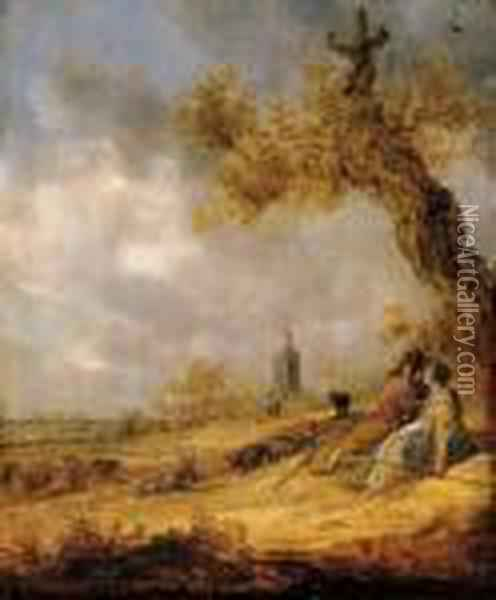 A Landscape With A Shepherd And Shepherdess, A Church Beyond Oil Painting - Jan van Goyen