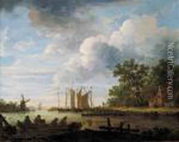 A River Landscape On A Cloudy Day With Fishermen With Lobsterpots In Rowing Boats Oil Painting - Jan van Goyen