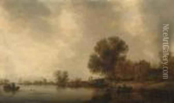 A Wooded River Landscape With Fishermen In A Boat Checking Creelsbefore A Bridge Oil Painting - Jan van Goyen