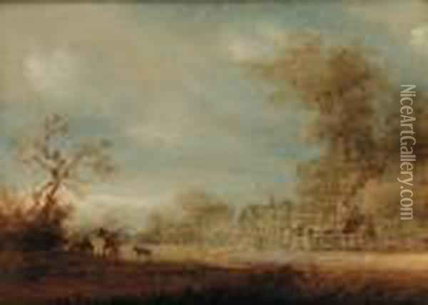 A Wooded Landscape With Figures And A Cart On A Track Oil Painting - Jan van Goyen