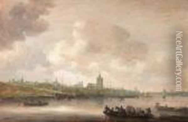 A View Of Arnhem With Fishermen In Rowing Boats In Theforeground Oil Painting - Jan van Goyen