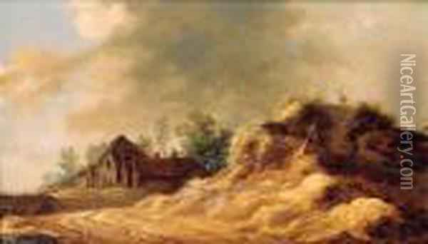 Farmhouses In The Dunes Oil Painting - Jan van Goyen