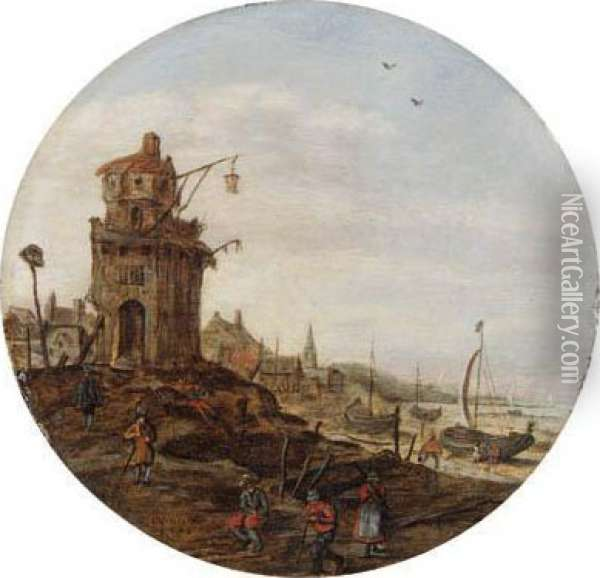 Villagers Skating On A Frozen  Waterwaybefore A Church; Villagers Ona Frozen Waterway, A Town And A  Windmill Beyond; Fisherfolk On Abeach By A Tower; And Travellers On A  Wooded Pathin A Village Oil Painting - Jan van Goyen