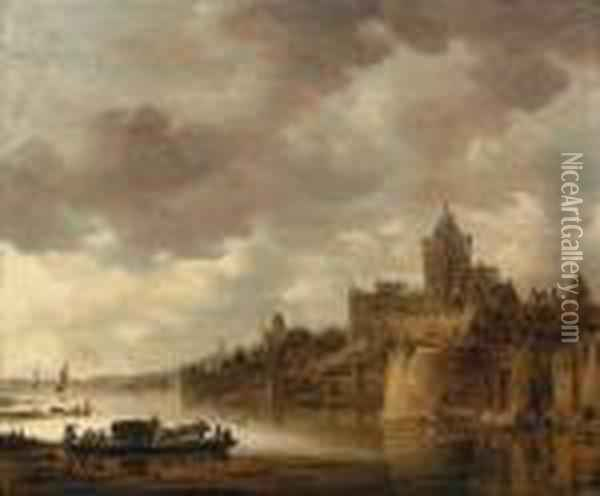 The Valkhof At Nijmegen With A Coach And Horses On A Ferry On Theriver Waal Oil Painting - Jan van Goyen