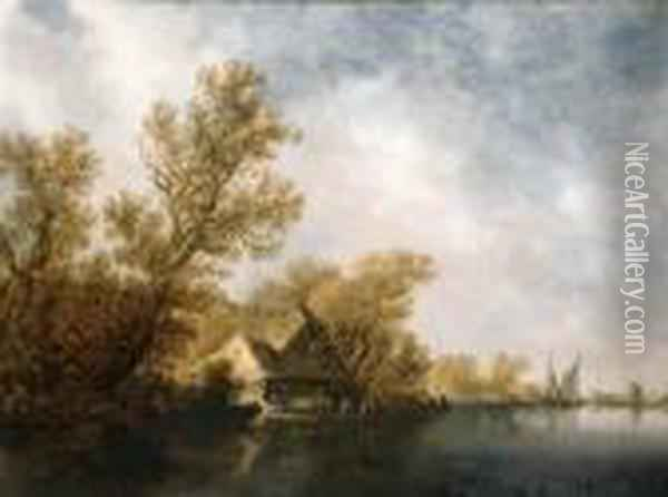 A River Landscape With Passengers And Cows On A Ferry Near Athatched Cottage Oil Painting - Jan van Goyen