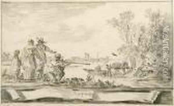 Elegant Company Shooting Birds In An Estuary: A Design For Atitle-page Signed And Dated In A Cartouche 'j.v. Goijen. 1653' Black Chalk, Gray Wash, Black Chalk Framing Lines Oil Painting - Jan van Goyen