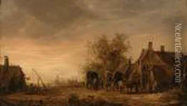 A View Of The Village Of Renkum,  With Travellers In Wagons Restingon The Roadside By An Inn, The Church  Beyond Oil Painting - Jan van Goyen