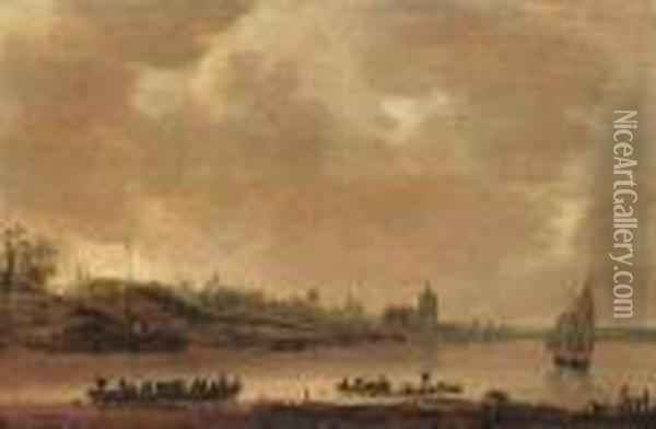 A View Of Arnhem From The South With A Ferry And Shipping On Therhine In The Foreground Oil Painting - Jan van Goyen