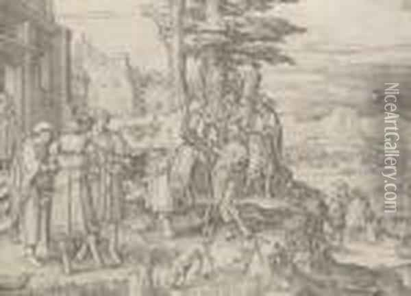 The Return Of The Prodigal Son Oil Painting - Lucas Van Leyden