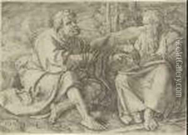 Saints Peter And Paul Seated In A Landscape Oil Painting - Lucas Van Leyden