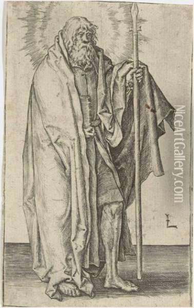 Christ And The Apostles Oil Painting - Lucas Van Leyden