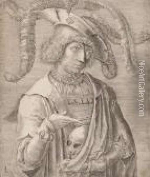 Young Man With Skull Oil Painting - Lucas Van Leyden