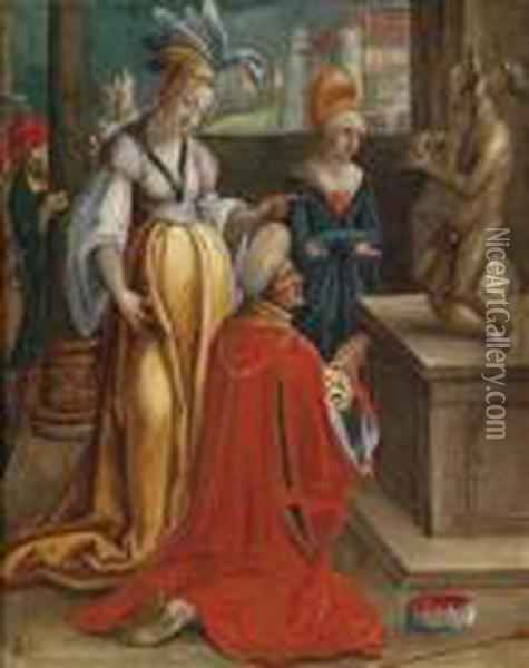 The Idolatry Of Solomon Oil Painting - Lucas Van Leyden