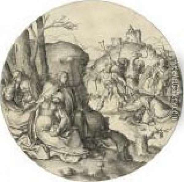 Christ Carrying The Cross, From: The Circular Passion (holl.64) Oil Painting - Lucas Van Leyden
