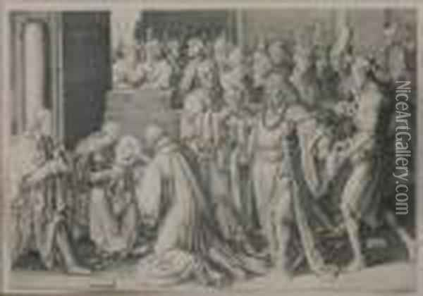 Adoration Of The Kings Oil Painting - Lucas Van Leyden