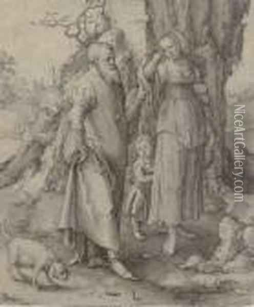 Abraham Repudiating Hagar Oil Painting - Lucas Van Leyden
