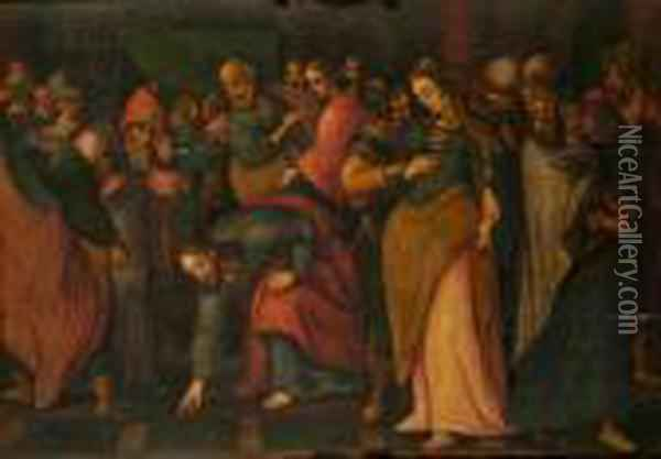 Christ And The Woman Taken In Adultery Oil Painting - Lucas Van Leyden