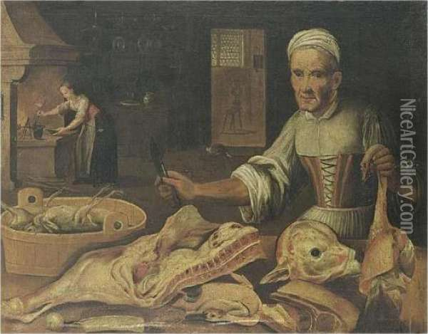 A Kitchen Still Life With A Maid  Chopping Meat, A Duck, Meat And Chickens In A Basket All On A Table Oil Painting - Lucas Van Leyden