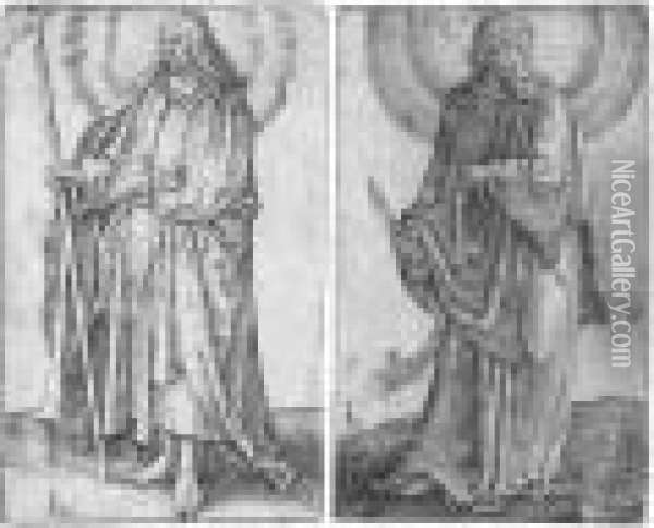St Bartholomew; And St Philip (the New Hollstein 94; And 95) Oil Painting - Lucas Van Leyden