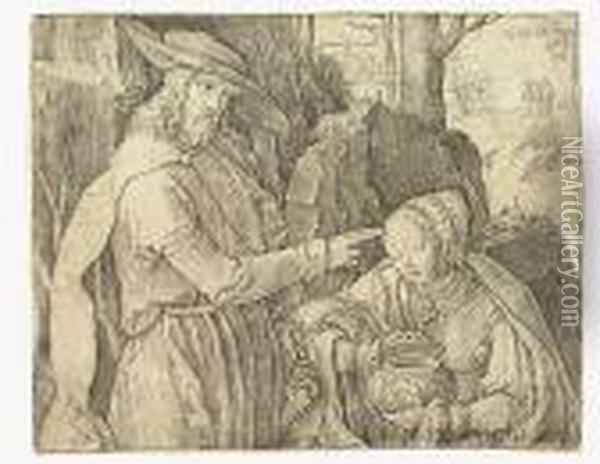 Christ Appearing To St. Mary Magdalen As A Gardener<</b> Oil Painting - Lucas Van Leyden