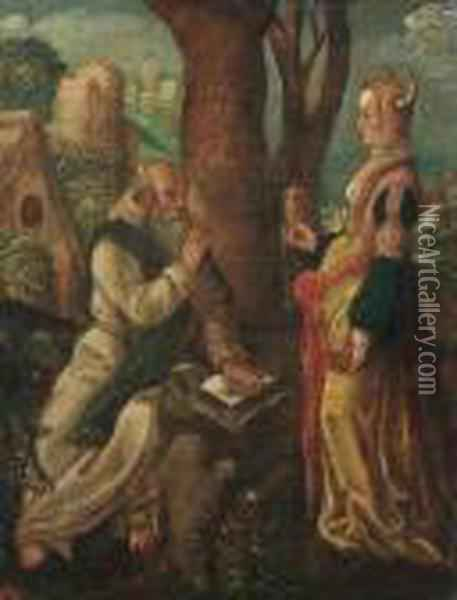 The Temptation Of Saint Anthony Oil Painting - Lucas Van Leyden