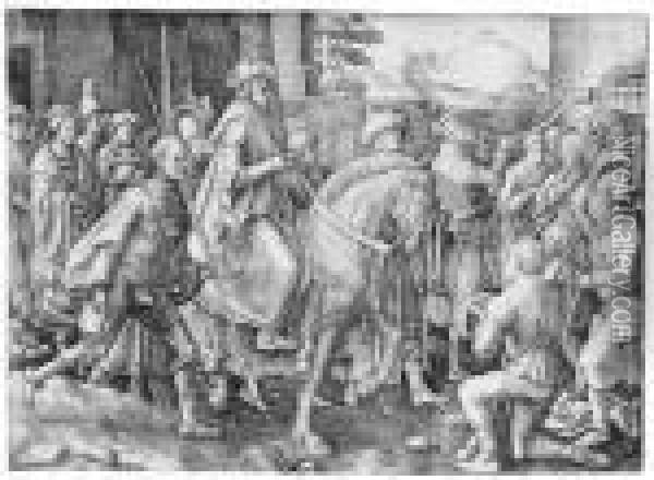 The Triumph Of Mordecai Oil Painting - Lucas Van Leyden