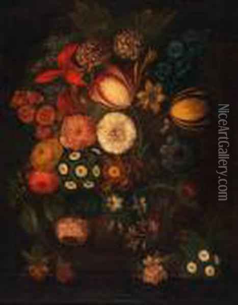Still Life Study Of Mixed Flowers Oil Painting - Jan van Os
