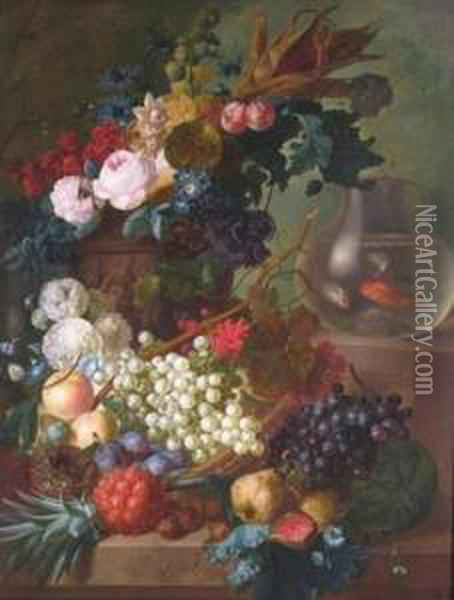 Still Life Of Grapes, Quince, 