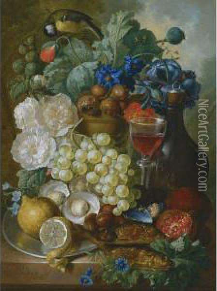 Still Life With Fruit And Flowers Oil Painting - Jan van Os