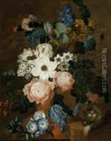 Still Life With Flowers And A Birdsnest Oil Painting - Jan van Os