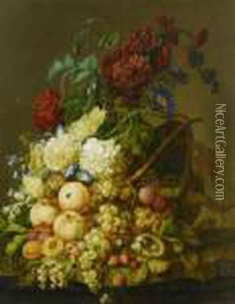 Still Life Of Flowers And Fruits. Oil Painting - Jan van Os