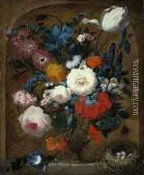 Roses, Peonies, Larkspur And 
