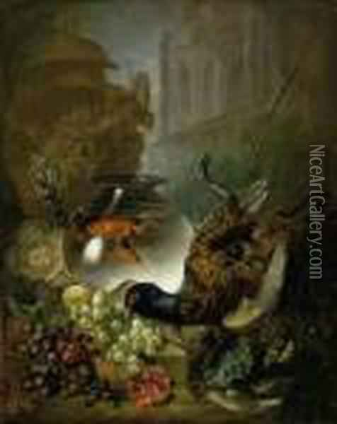 Grapes, Pomegranates, Game,  Fish, Goldfish In A Bowl, A Classicalurn, With A Gothic Building Beyond Oil Painting - Jan van Os