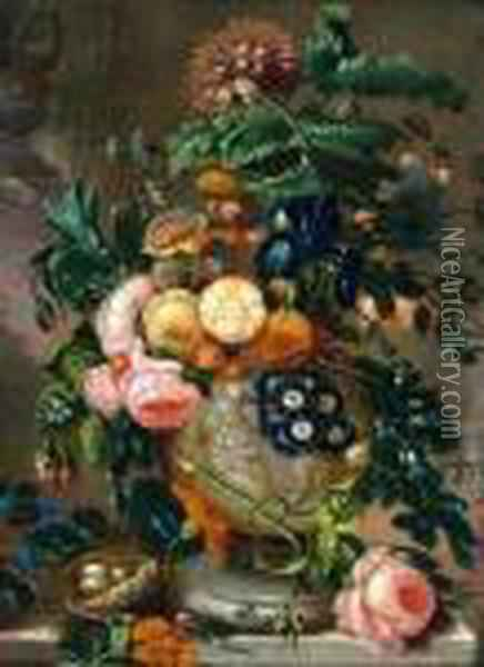A Still Life Of Roses And Other Flowers In Anurn On A Ledge Oil Painting - Jan van Os