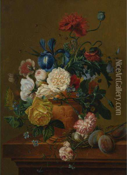 A Still Life Of Flowers, Fruit And Bird's Nest Oil Painting - Jan van Os