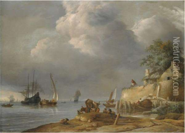 A Coastal Shipping Scene With  Cattle And Sheep In The Foregroundand A Man On Horseback Outside An Inn Oil Painting - Jan van Os