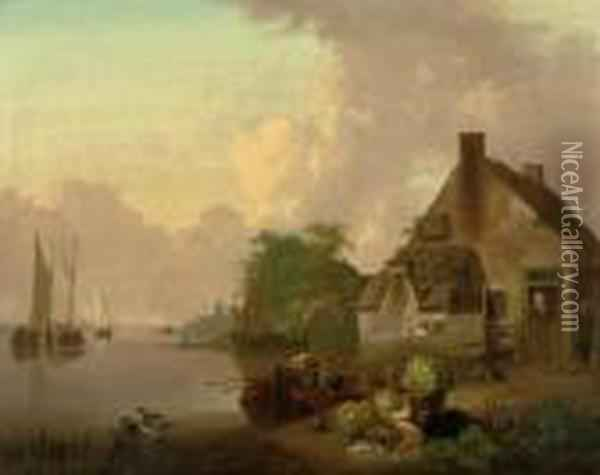 A River Landscape With A Cottage Oil Painting - Jan van Os