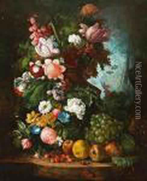 Tulips, Carnations, Peonies,  Convolvulus And Other Flowers In A Stone Urn With Grapes, Apples And  Other Fruit On A Stone Ledge, A Landscape Beyond. Oil Painting - Jan van Os
