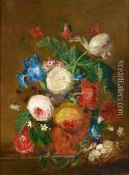 Roses, Lilies, Tulips And Other Flowers In A Vase With A Bird's Nest On A Stone Ledge Oil Painting - Jan van Os