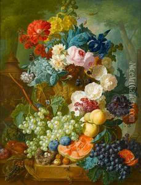 Roses, Irises, Carnations And  Other Flowers Ina Stone Urn With Peaches, Grapes, Melon, Plums And  Walnuts Beside Abird's Nest On A Stone Ledge, A Park Landscape Beyond Oil Painting - Jan van Os