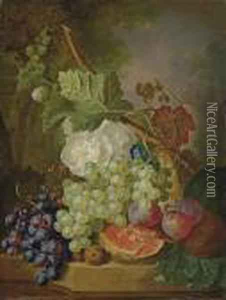Flowers, Grapes, Plums, Walnuts And A Melon On A Stone Ledge Oil Painting - Jan van Os