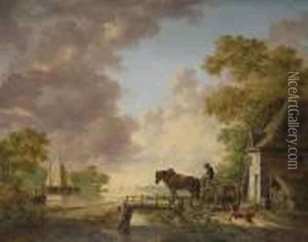 A River Landscape With A Horse And Cart Crossing A Bridge, Boats Beyond Oil Painting - Jan van Os
