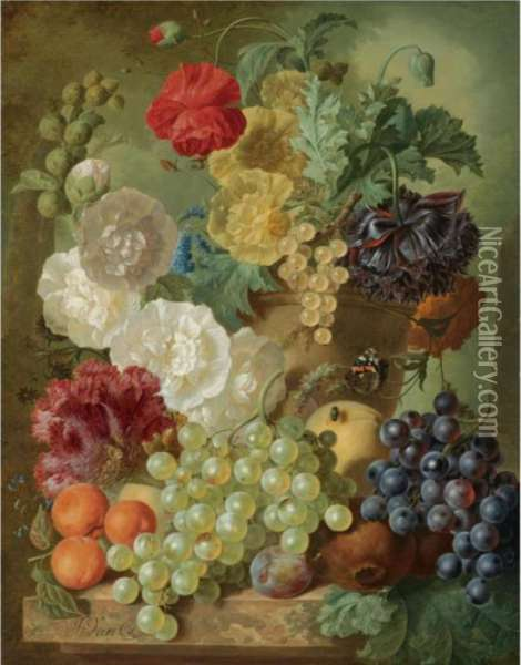 A Still Life With Hollyhocks,  Poppies, An Anemone, Other Flowers And White-currants In A Terracotta  Vase, With Apricots, White And Black Grapes, Pomegranates And A Plum,  All Arranged On A Marble Ledge Oil Painting - Jan van Os