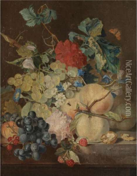 A Still Life With Peaches,  Grapes, Raspberries Together With Various Flowers On A Stone Ledge Oil Painting - Jan van Os