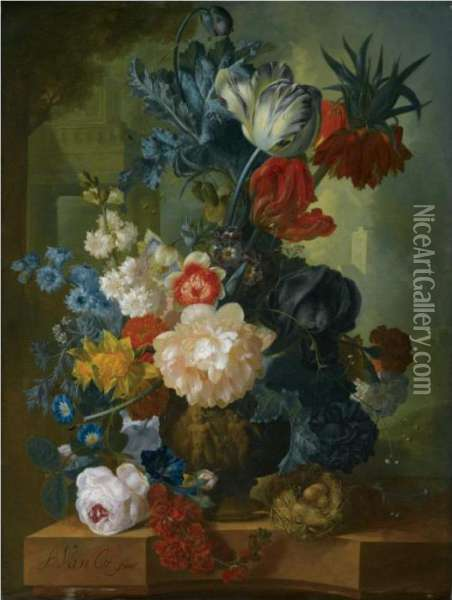 Still Life With A Bouquet Of  Flowers In A Sculpted Vase, Including A Parrot Tulip, Morning Glory, A  Black Iris, Peonies, Daffodils And A Crown Imperial, Together With A  Bird's Nest On A Pink Marble Ledge Oil Painting - Jan van Os
