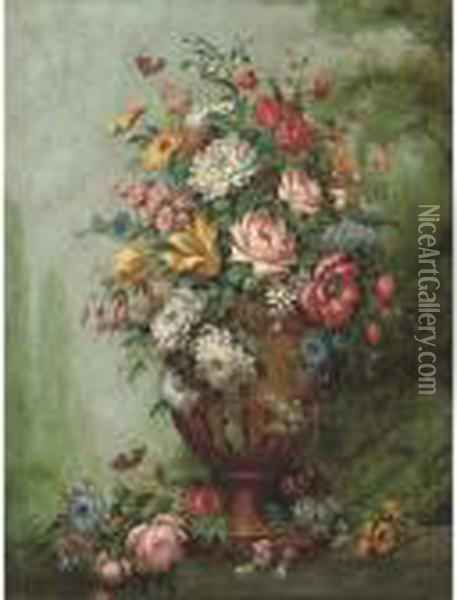 Flowers In A Sculpted Urn On A Stone Ledge Oil Painting - Jan van Os
