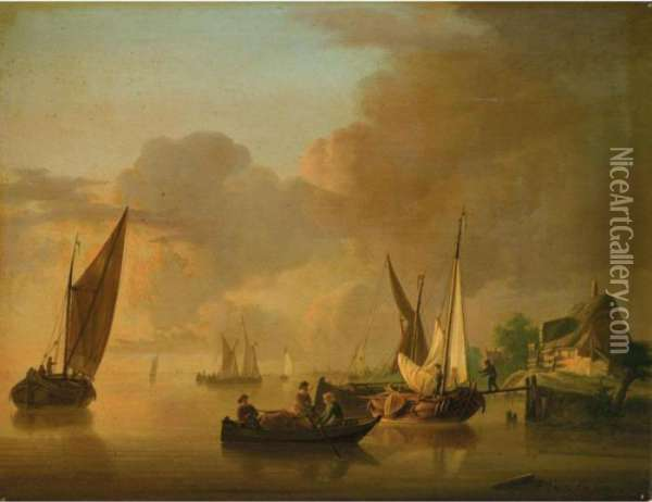 A River Landscape With Smalschips Unloading Their Cargo, Together With A Rowing Boat Oil Painting - Jan van Os