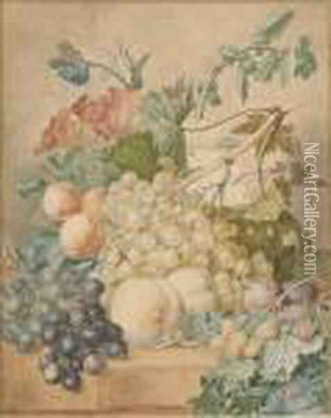 Mixed Flowers With Grapes Oil Painting - Jan van Os