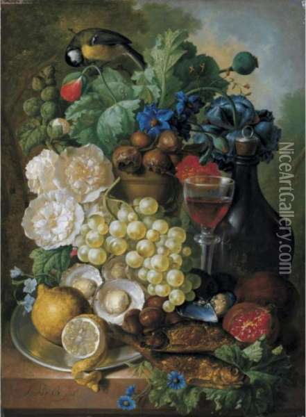 Still Life With Fruit And  Flowers, Together With Oysters, Mussels, A Glass Of Wine And A Decanter Oil Painting - Jan van Os